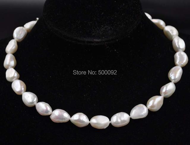 Envío libre 11-13*14-17mm de agua dulce Barroco collar de perlas