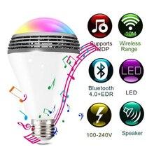 Smart RGB лампы Bluetooth 4,0 аудио колонки лампы затемнения E27 светодио дный Беспроводной музыка лампочки Цвет изменения через Wi-Fi приложение Управление