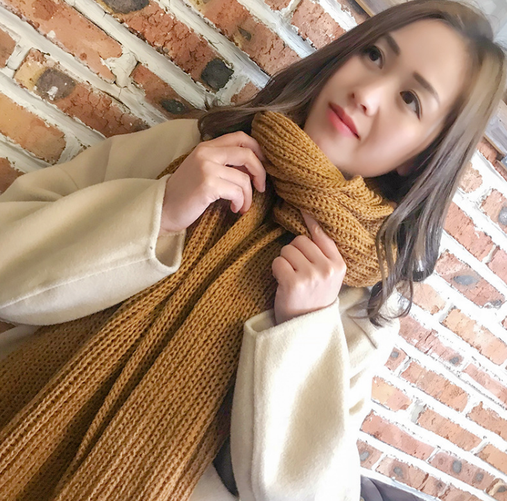 Solid color   scarf   Wool Winter Acrylic   scarf     wraps   pashmina women scarfs thick Dual shawl hijab poncho for ladies