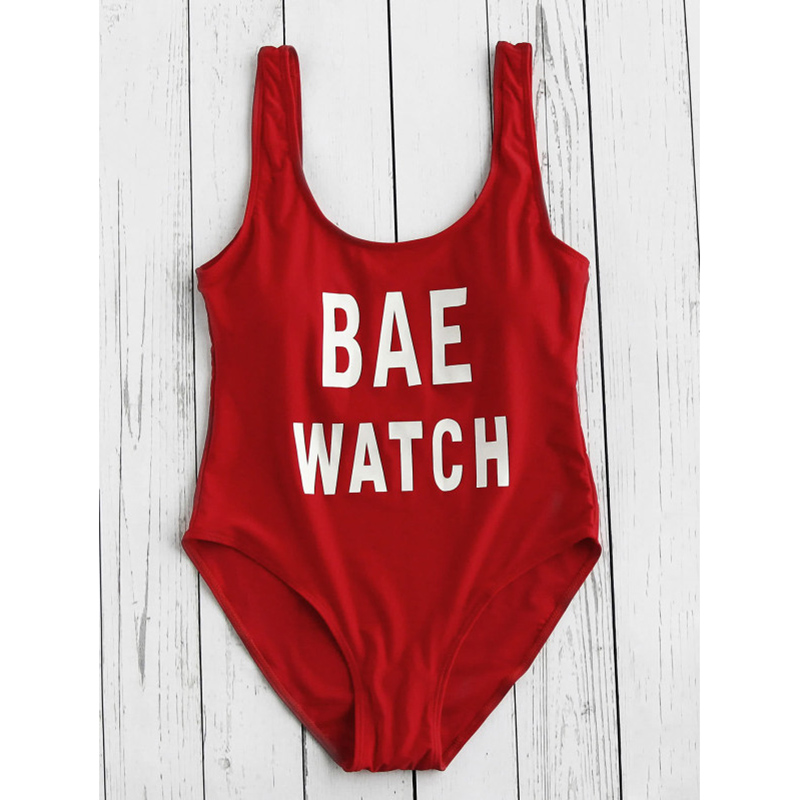 db27af5166 ESSV Red Letter One Piece Bodysuit Sexy Padded Bulls Bae Watch Swimsuit  Swimwear Women Girl s Swimming Suit Bathing Suit