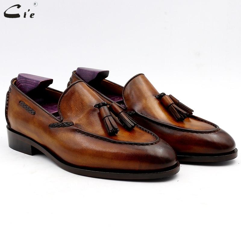 cie Round Toe Pure Genuine Leather Bespoke Blake Stitch Handmade Patina Brown Tassels Slip on Men