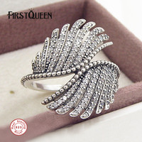 FirstQueen Phoenix Feather Ring in Sterling Silver 925 Engagement Ring bijoux femme Fine Jewellery Dropshipping