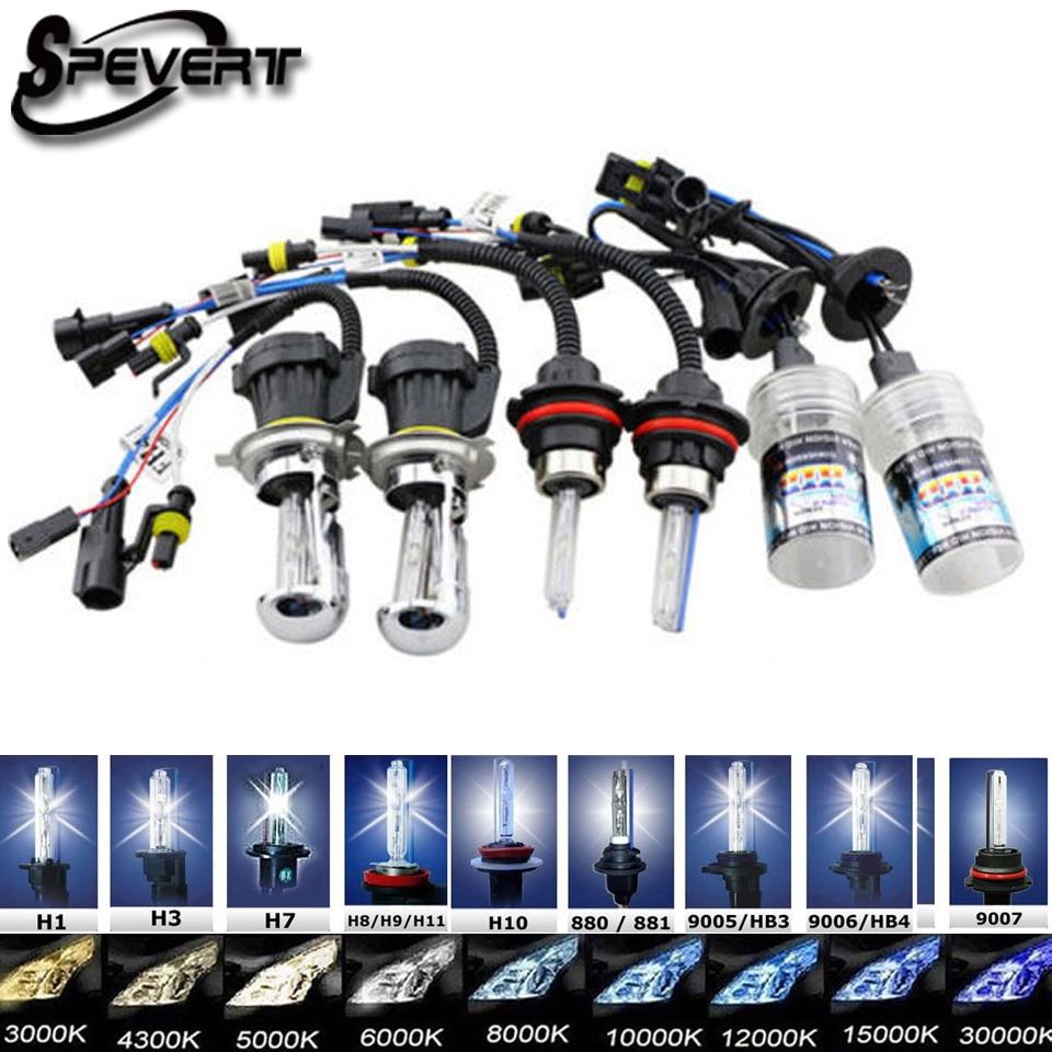 SPEVERT 35W 2pcs HID Bi Xenon Ampoules Bulb H4 H13 9004 9007 Hi/Lo D1S D2S H1 H3 H7 H8/H9/H11 9005/HB3/H10 9006/HB4 H27 HeadLamp