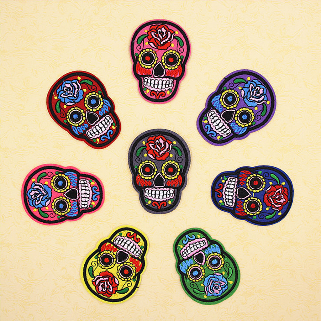 16Pcs Mixed Skull Badge Embroidered Patches for Clothes Iron on Applique DIY