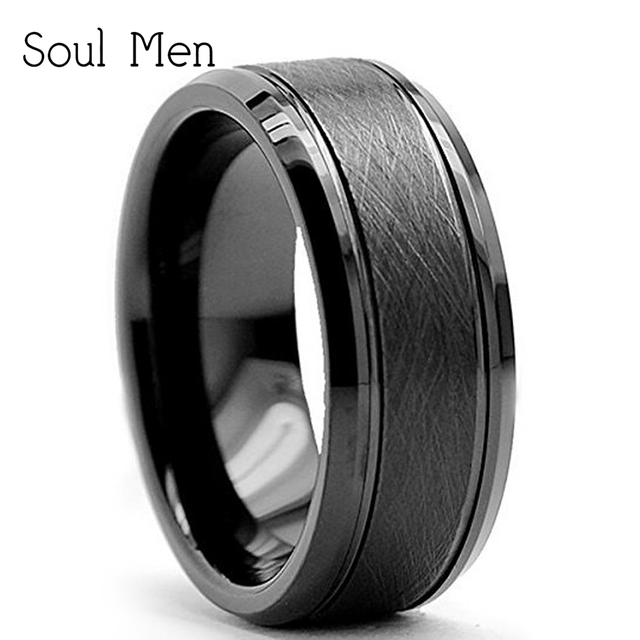 8mm Black Men S Cool Simple Tungsten Carbide Anniversary Finger Ring Male Wedding Band Comfort Fit