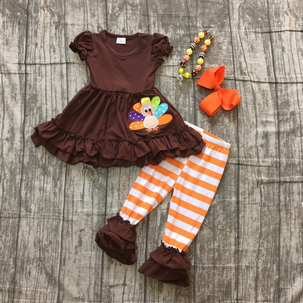 autumn thanksgiving Fall/Winter baby girls brown short top turkey outfits stripe pant clothes ruffle boutique match accessories zutano unisex baby candy stripe pant