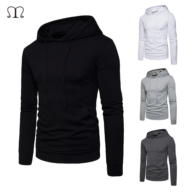 Hoodies Men 2018 Brand Male Long Sleeve Solid Color Hooded Sweatshirt Mens bts Hoody Tracksuit Slim Sweat Coat Casual Sportswear
