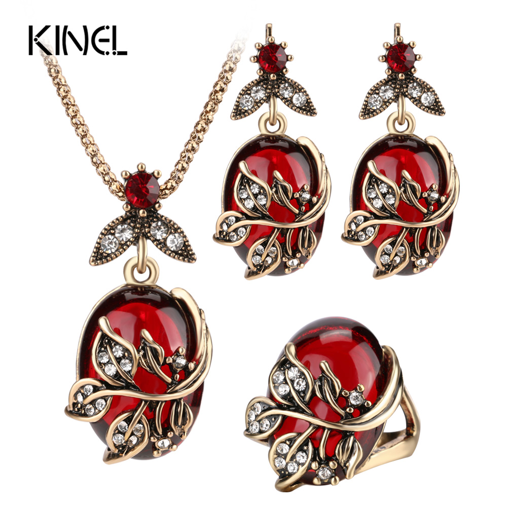 Kinel 3Pcs Red Oval Crystal Flower Jewelry Sets Antique Gold Vintage Ring Earring Pendant Necklace Wedding Jewelry For Women цена 2017