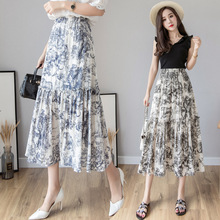 2019 Summer Woman Nation Style High Waist Long Skirt Vintage Animal Printing Elastic A Line Maxi Harajuku Streetwear