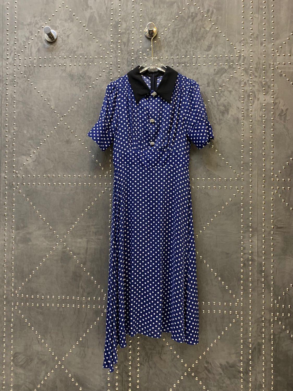 2019 Revers 1 Femmes Asymétriques blue Polka Couleur Nouveau Tailles Vêtements Pour Robes 3 Black Dot OZiukXwPT