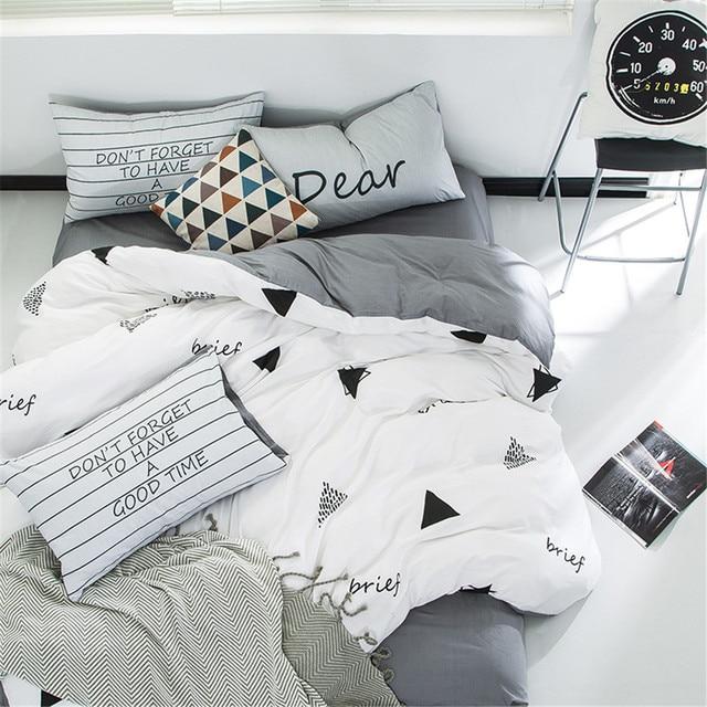 Yeekin Neue Design Weiss Und Grau Bettwasche Sets 4 Stucke Dreieck