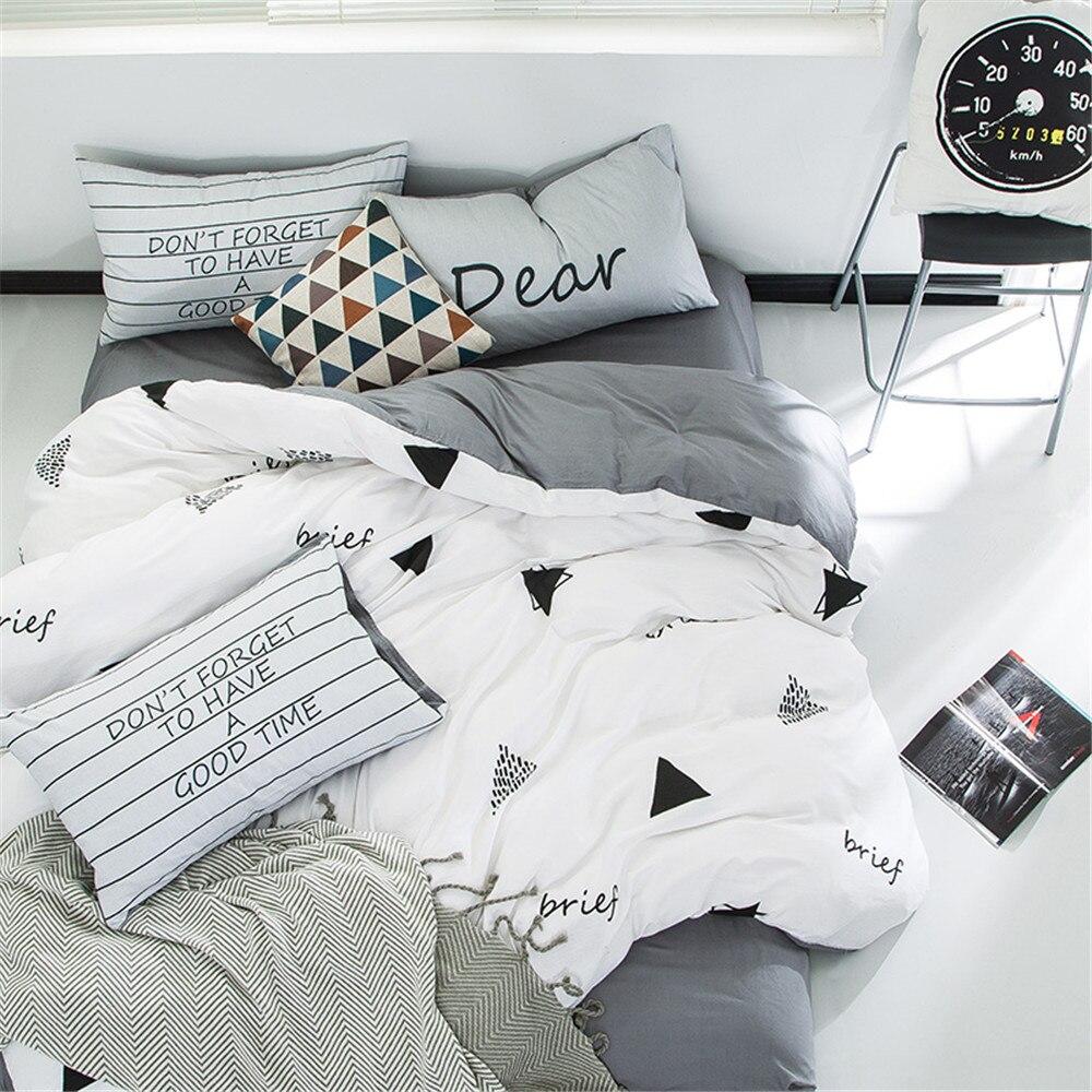 yeeKin New Design White and Gray Bedding Sets 4pcs ...