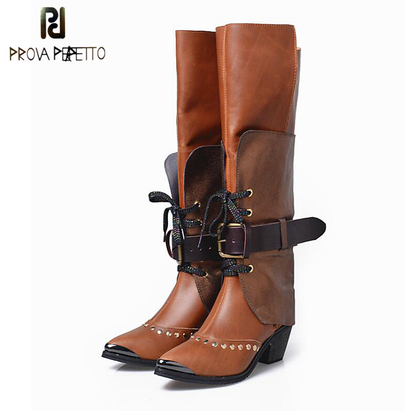 Prova Perfetto Knee High Boots Female Brown Metal Pointed Toe Lace Up Rivets Riding Boots Cool Fashion Lady Runway Bota