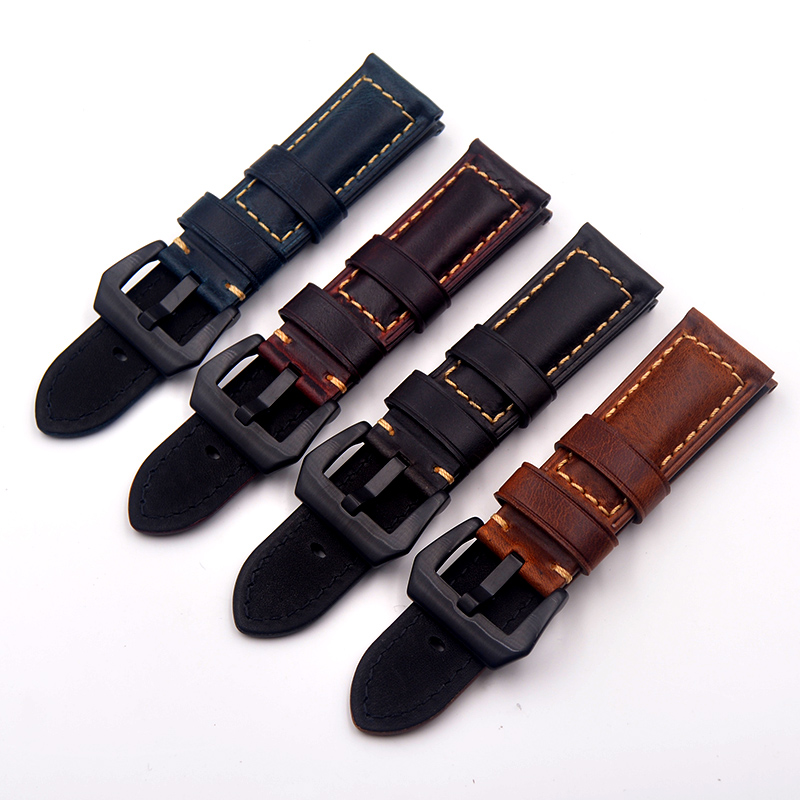 20 22 24 26mm High Quality Blue brown Vintage Italy Calf Leather Straps Watchband Replace for <font><b>PAM</b></font> Seiko Omega <font><b>Bracelet</b></font> Wristband image