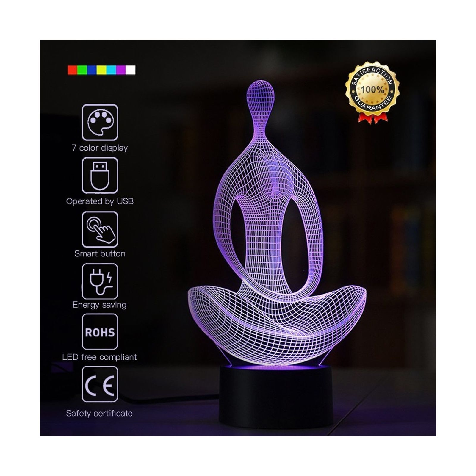 With Mini Player Childrens Kid Gift Meditation 3D Night Light Yoga 3D Led Optical Illusion 7 Colors Change Night