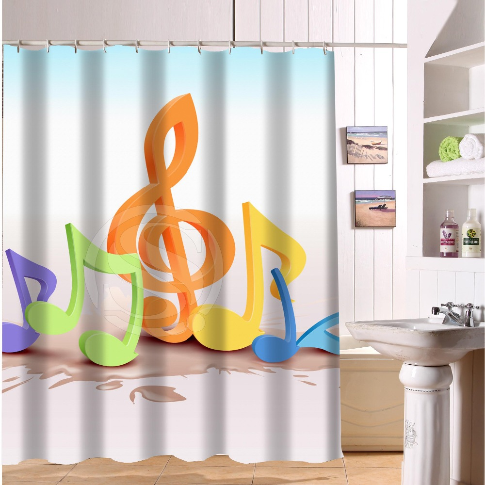 Custom Bath Curtains Print Creative Musical Notes Beautiful Shower Waterproof Bathroom Curtain 60 X 72