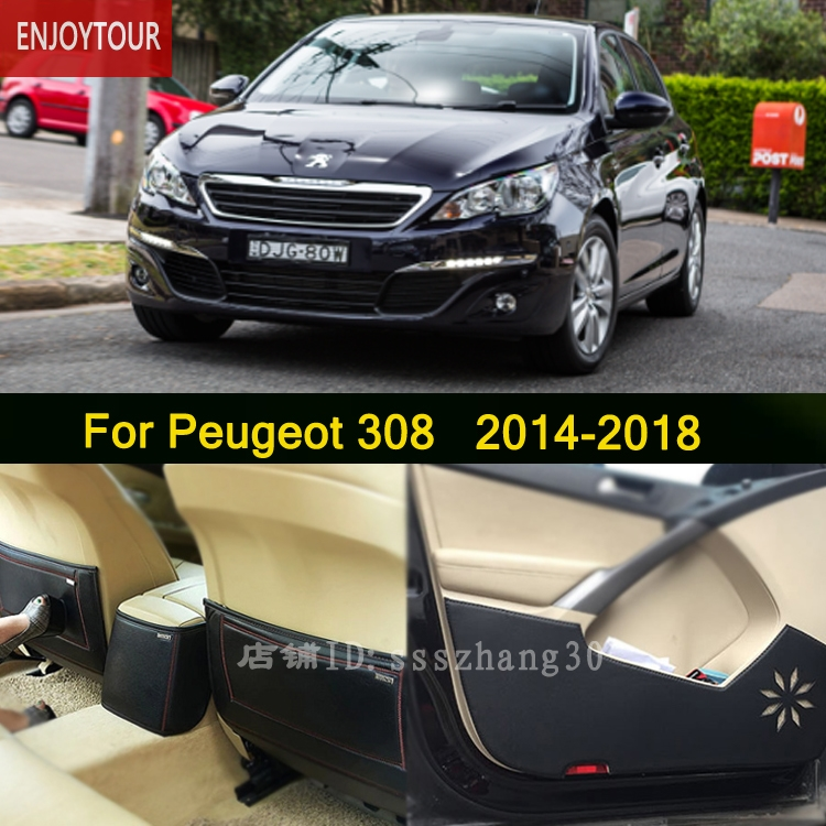 Car  Pads  Front Rear Door  Seat Anti-kick Mat  Car-styling Accessories For Peugeot 308 2014 2015 2016 2017 2018
