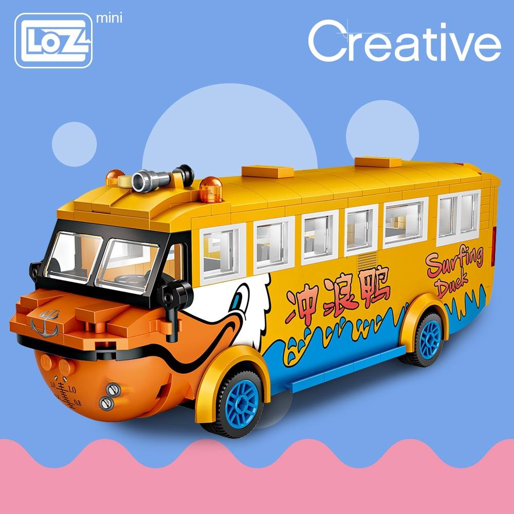 LOZ Mini Blocks Surf Duck Amphibious Bus Duck Boat Travel Car Model Educational Toys for Children Mini Building Bricks Gifts DIY