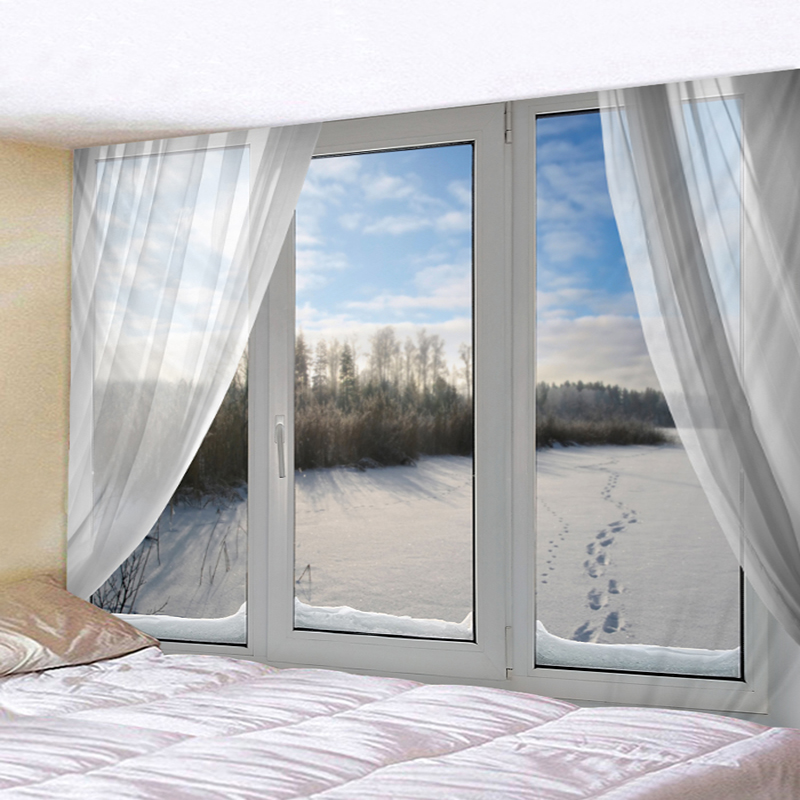 Snowy Forest Outside The Window White Sun Vintage Digital Polyester Art Square Hot Wall Decoration Tapestry Beach Mat