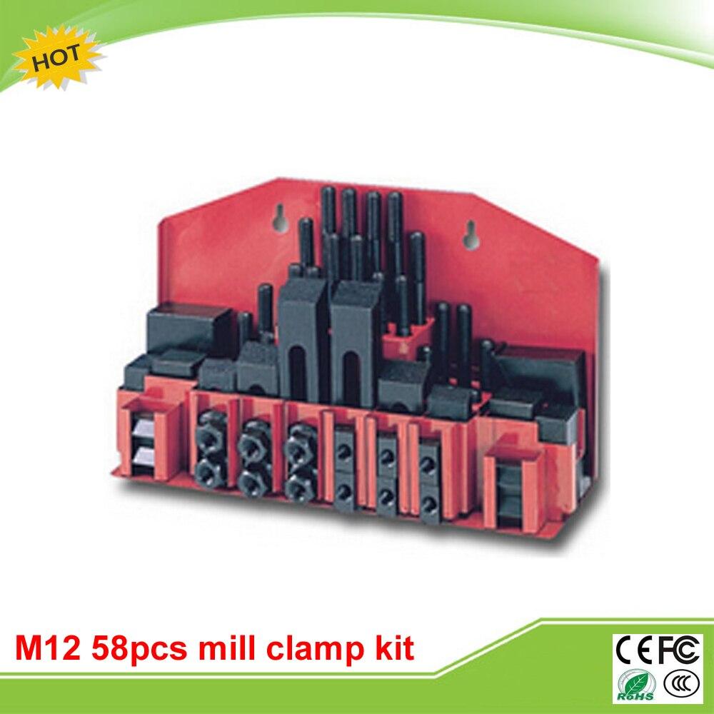 Metex milling machine clamping set M12 58pcs mill clamp kit vise цена и фото