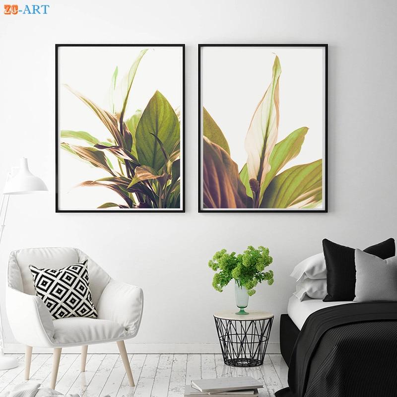 Nordic Modern Green Plant Print Poster Tropical Leaves ... on Modern Boho Wall Decor  id=43310
