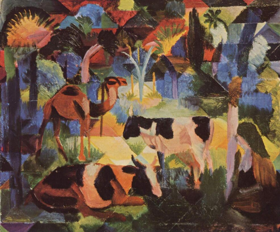 High quality Oil painting Canvas Reproductions Landscape with Cows and a Camel (1914) By August Macke hand paintedHigh quality Oil painting Canvas Reproductions Landscape with Cows and a Camel (1914) By August Macke hand painted