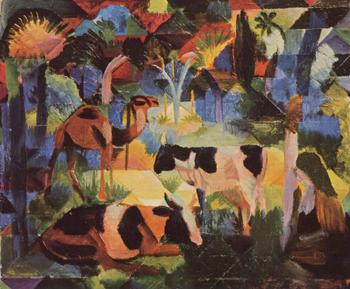 High quality Oil painting Canvas Reproductions Landscape with Cows and a Camel (1914) By August Macke hand painted