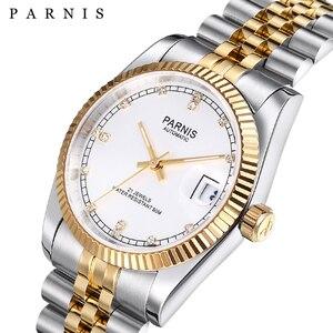 Image 1 - Parnis reloj mecánico automático para hombre y mujer, pulsera de acero inoxidable con diamantes, elegante, dorado, 2019