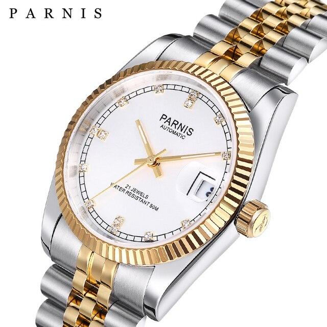 Parnis reloj mecánico automático para hombre y mujer, pulsera de acero inoxidable con diamantes, elegante, dorado, 2019