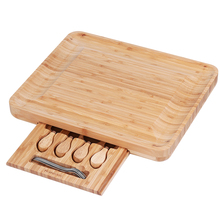 HOMEMAXS Cheese Board With Cutlery Set Serving Tray Slide-Out Drawer Wooden Server For Wine Meat Kitchen Accessories