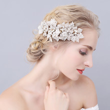 Jonnafe High-End Beaded Crystal Wedding Tiara Gold Hair Comb Pearl Bridal Jewelry Accessories Handmade Women Headpiece