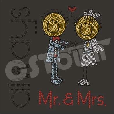 Mr and Mrs new design hot fix motif rhinestone