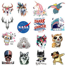 Fashion printing taro transfer iron patch post clothing DIY thermal letters animal bull head unicorn sticker hot press