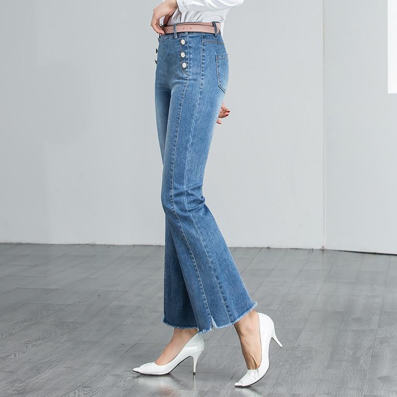 Primavera Para Cut 2019 Mujer Lavado Alta Novio Cintura Coreano Azul De Algodón Boot Plus Verano Tamaño Rectos Vaqueros Pantalones Rwvq0PR