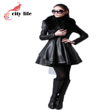 Leather Jacket With Fur PU Leather Trench coat Women 2015 Slim Faux Sheep Leather Jaquetas Femininas Plus Size Woman 5XL 6XL 7XL