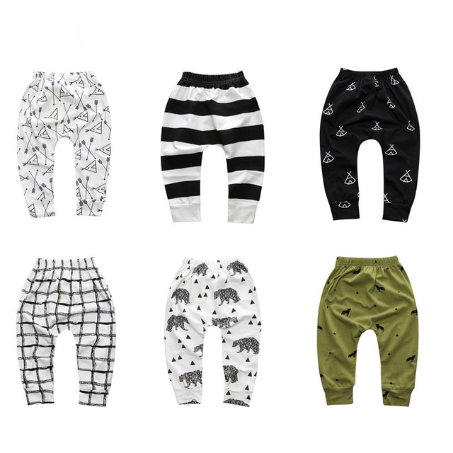 Брюки для маленьких мальчиков и девочек; Лидер продаж; штанишки для новорождённого с геометрическим рисунком; шаровары для малышей; модные брюки