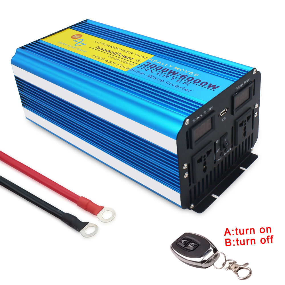 3000W/6000W reine sinus welle power inverter transformator DC 12V/24V ZU AC220V/230V/240V CAMPING BOOT Konverter mit fernbedienung