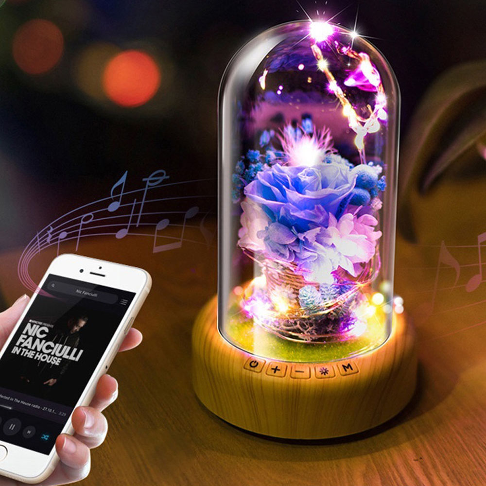 HoneyFlyPreserved Fresh Flower LED Night Light 0.3W 5V Bluetooth Audio USB LED Desk Lamp Christmas Birthday Valentine Customized led night lamp decorate dream bluetooth voice speaker christmas ever fresh flower creative music box rechargable desk light gift