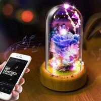 HoneyFlyPreserved Fresh Flower LED Night Light 0.3W 5V Bluetooth Audio USB LED Desk Lamp Christmas Birthday Valentine Customized