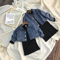 Spring Fashion Baby Girl Clothing Set Kids Long Sleeve Denim Blue Jacket+Black Skinny Dress 2PCS Children Clothes Suit For 2 8Y