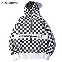 Aolamegs Hoodies Men Plaid Letter Hoody Pullover Hooded Half Zipper Streetwear Cotton Casual Fashion Sweatshirts Hoodie