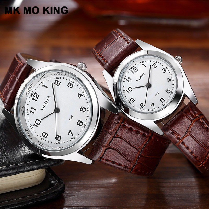 New Korean Fashion Black Brown Leather Men's And Women's Watches Luxury Brand Ladies Quartz Couple Wrist Watch Clock Reloj Mujer