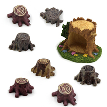 ФОТО new 10pcs/lot crafts decorations miniature multicolour tree stump fairy terrarium christmas xmas party garden gift