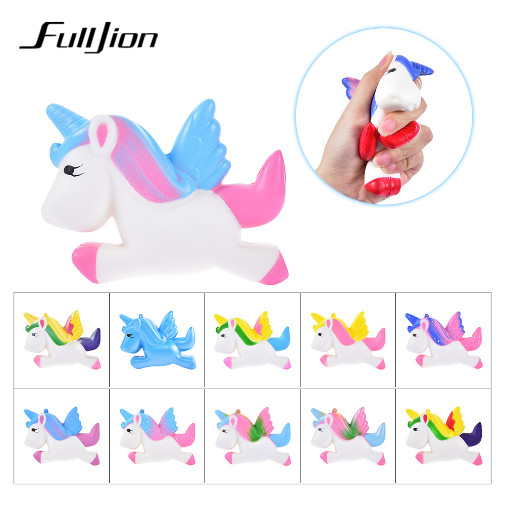 цена Fulljion Squishy Unicorn Antistress Squishe Stress Relief Novelty Gag Toys Anti-stress Fun Gags Practical Jokes Squeeze Toy Gift