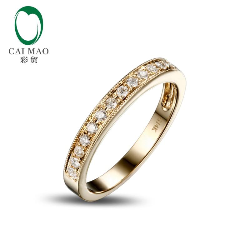 Caimao Jewelry Half Eternity 14k Yellow Gold 0.25ct Natural Diamond Engagement Wedding Band