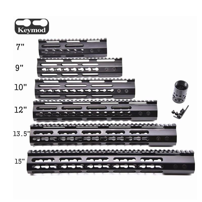 "Jagd Tactical AR-15 M4 Schiene 7 ""/9""/10 ""/12""/13,5 ""/ 15 ""KeyMod Freies Float Picatinny Schiene Handschutz Forend Barrel Mount & Mutter"