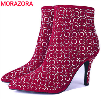 MORAZORA 2020 new arrival ankle boots for women cow suede leather autumn winter boots pointed toe stiletto heels prom shoes