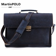 2019 Briefcase Vintage Crazy Horse Genuine Leather Bag Men Briefcases Male Shoulder Laptop Bag For Male Office Handbags Totes