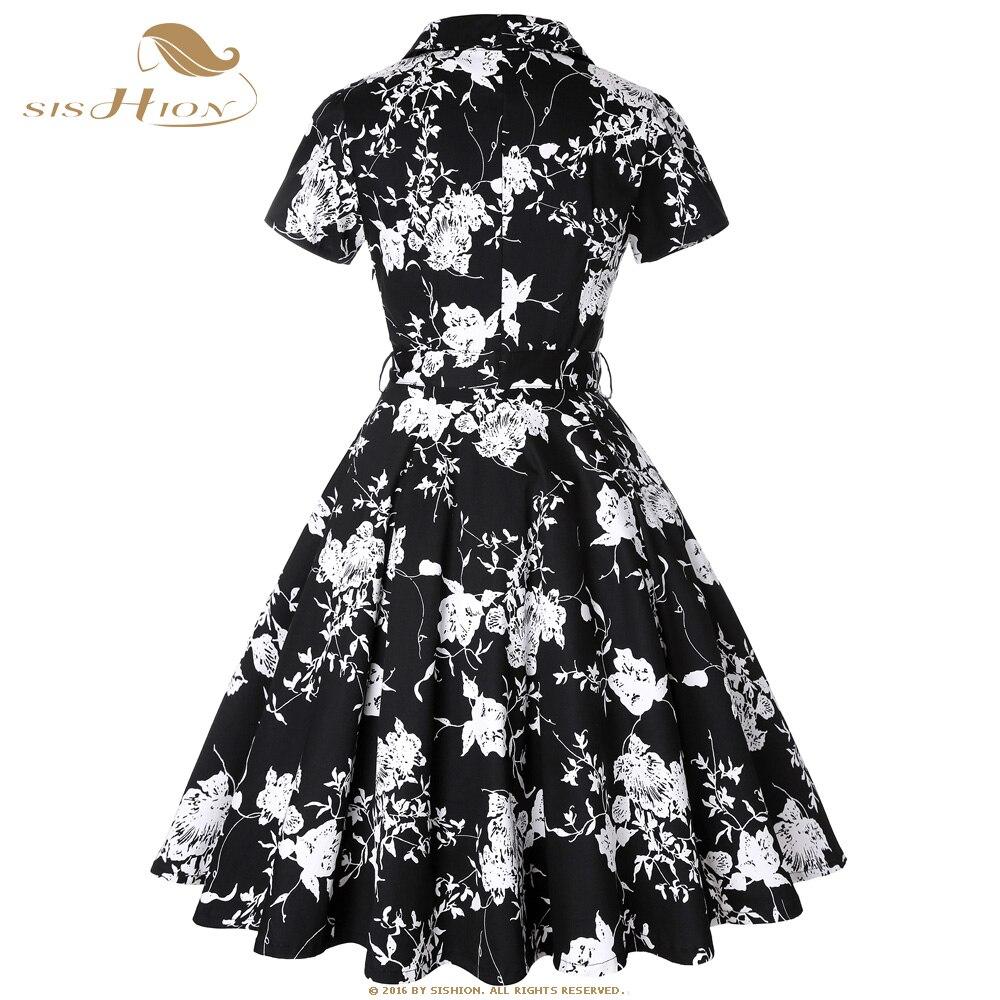 9fdba2c69af7 SISHION Cotton Summer Dress Elegant 2019 Short Sleeve Women Black with White  Flower Floral Dress Plus Size Vintage Dress SD0002-in Dresses from Women s  ...