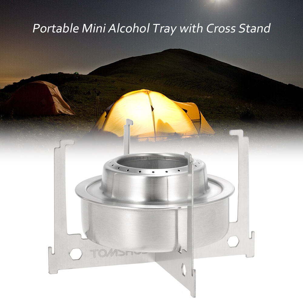 TOMSHOO Mini Alcohol Stove Tray Spirit Burner Stove Portable Mini Ultralight Outdoor Camping Stove Furnace With Cross Stand Rack
